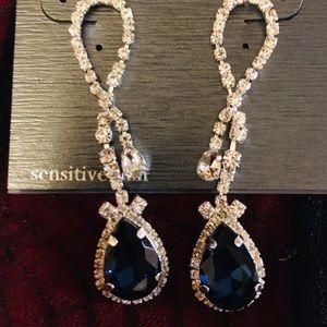 Cezanne Faux Diamonds Silver and Sapphire Earrings